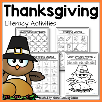 Thanksgiving Literacy Activities - No Prep - Just Print