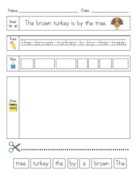 Thanksgiving Literacy Activity: Read, Trace, Glue, Draw