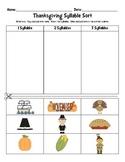 Thanksgiving Literacy Activity: Syllable Sort