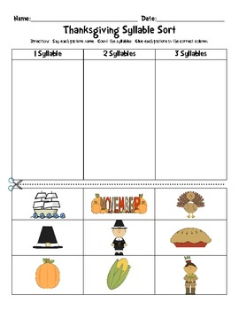 Thanksgiving Literacy Activity: Syllable Sort