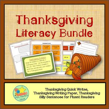 Thanksgiving Literacy Bundle - Writing Tasks, Silly Sentences Word Work, Paper