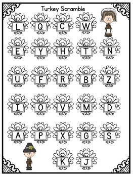 Thanksgiving Literacy Center Freebie- Letter Recognition Game