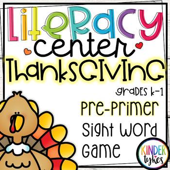 Thanksgiving Literacy Center Game (Pre-Primer)