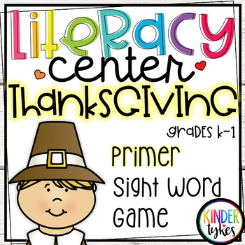 Thanksgiving Literacy Center Game (Primer)