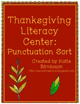 Thanksgiving Literacy Center: Punctuation Sort