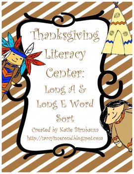 Thanksgiving Literacy Center: Vowel Sort (A & E)