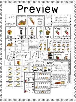 First Grade Centers: Thanksgiving