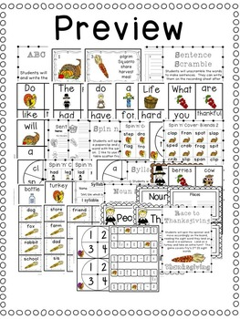 First Grade Centers: Thanksgiving