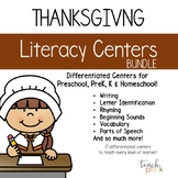 Thanksgiving Literacy Centers: Leveled Literacy Bundle for Preschool, PreK & K