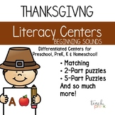 Thanksgiving Literacy Centers: Differentiated Letter Sounds Centers for PreK & K