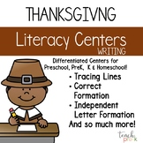 Thanksgiving Literacy Centers: Leveled Writing for Preschool, PreK & K
