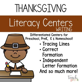 Thanksgiving Literacy Centers: Differentiated Writing for Preschool, PreK & K