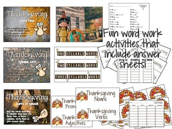 Thanksgiving Literacy Centers: Six Daily Five Printable Centers