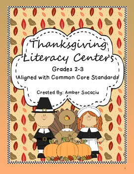 Thanksgiving Literacy Centers for 2nd and 3rd Grade ELA Co