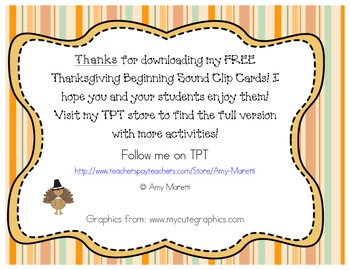 Thanksgiving Literacy Clip Cards