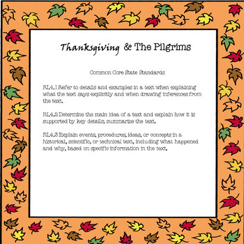 Thanksgiving Informational Text and The Pilgrims