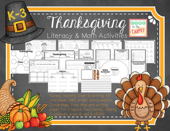 Thanksgiving Literacy & Math K-3