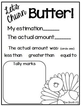 Thanksgiving Literacy & Math (Let's Churn Butter!)