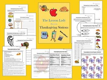 Thanksgiving Literacy & Math Worksheet Centers
