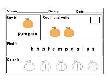 Thanksgiving Literacy , Math and Art Pack For Kindergarten RTI :