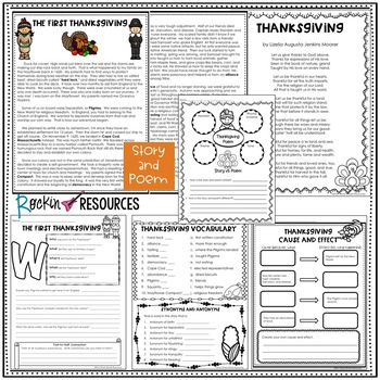 Thanksgiving Literacy Packet Thanksgiving Activities
