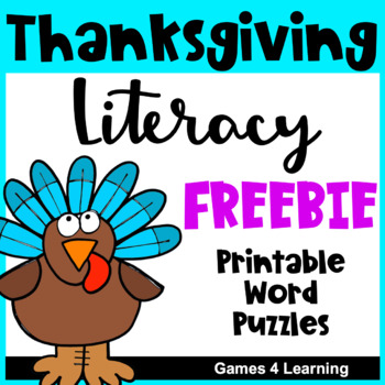Thanksgiving Activities: Thanksgiving Free Activities Literacy Puzzles