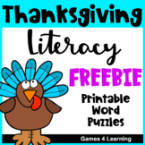 Thanksgiving Activities Free: Thanksgiving Word Puzzles