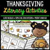 Thanksgiving Literacy - Special Education - Life Skills - Print & Go - Reading