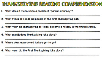Thanksgiving Literacy - Special Education - Life Skills - Print & Go - Reading