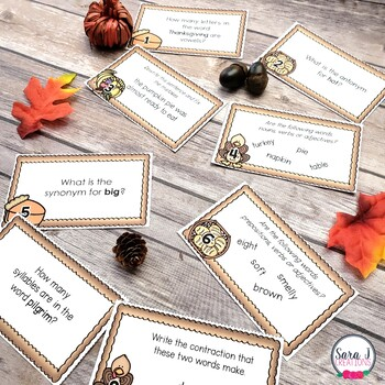 Thanksgiving ELA Task Cards