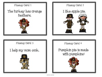 Thanksgiving Literacy Task Cards- Reading and Fluency
