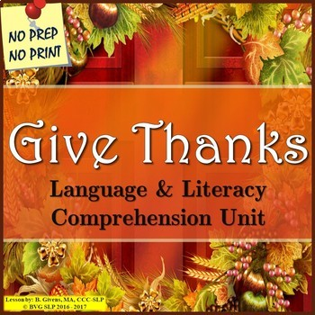 Thanksgiving Literacy and Language Unit
