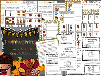Thanksgiving Printables, Literacy, Craft, & Math CCSS