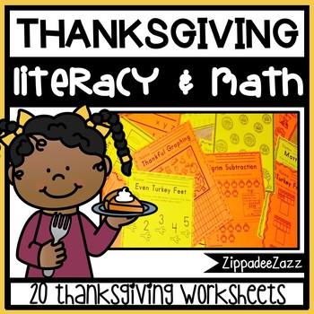 Thanksgiving Literacy and Math Activity Bundle - NO PREP-UK & US