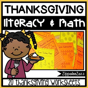 Worksheets for Thanksgiving ELA Literacy and Math Activities