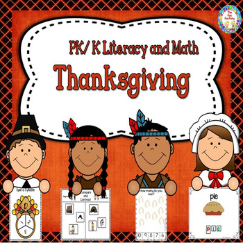 Thanksgiving Literacy and Math Center Activities and Worksheets - PK and K