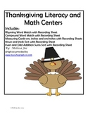 Literacy and Math Centers Minimum prep Thanksgiving Theme