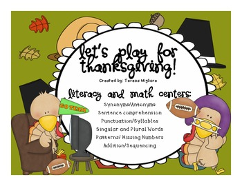 Thanksgiving Literacy and Math Centers {10 Included WITH W