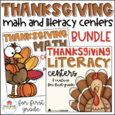 Thanksgiving Literacy and Math Centers First Grade Bundle