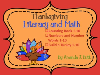 Thanksgiving Literacy and Math; Kindergarten; Autism; Special Education