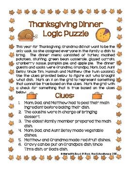 Thanksgiving Logic Puzzle