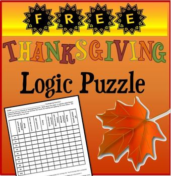 Thanksgiving Logic Puzzle  Freebie