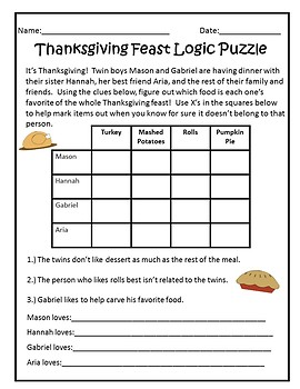 Thanksgiving Logic Puzzle Pack by Teal Apple Boutique  TpT