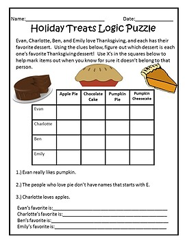 Thanksgiving Logic Puzzle Pack