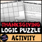 Thanksgiving Logic Puzzle for Middle School - Thanksgiving Math Activity