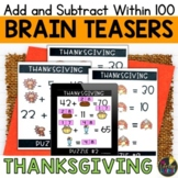 Thanksgiving Logic Puzzles   Add and Subtract within 100