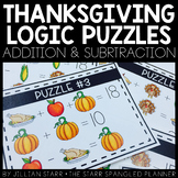 Thanksgiving Math Logic Puzzles- Addition & Subtraction