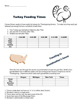 Thanksgiving logic puzzles and venn diagram by volunteacher tpt thanksgiving logic puzzles and venn diagram ccuart Images