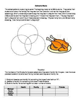 Thanksgiving Logic Puzzles And Venn Diagram