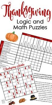 Thanksgiving Logic & Sudoku Math Puzzles